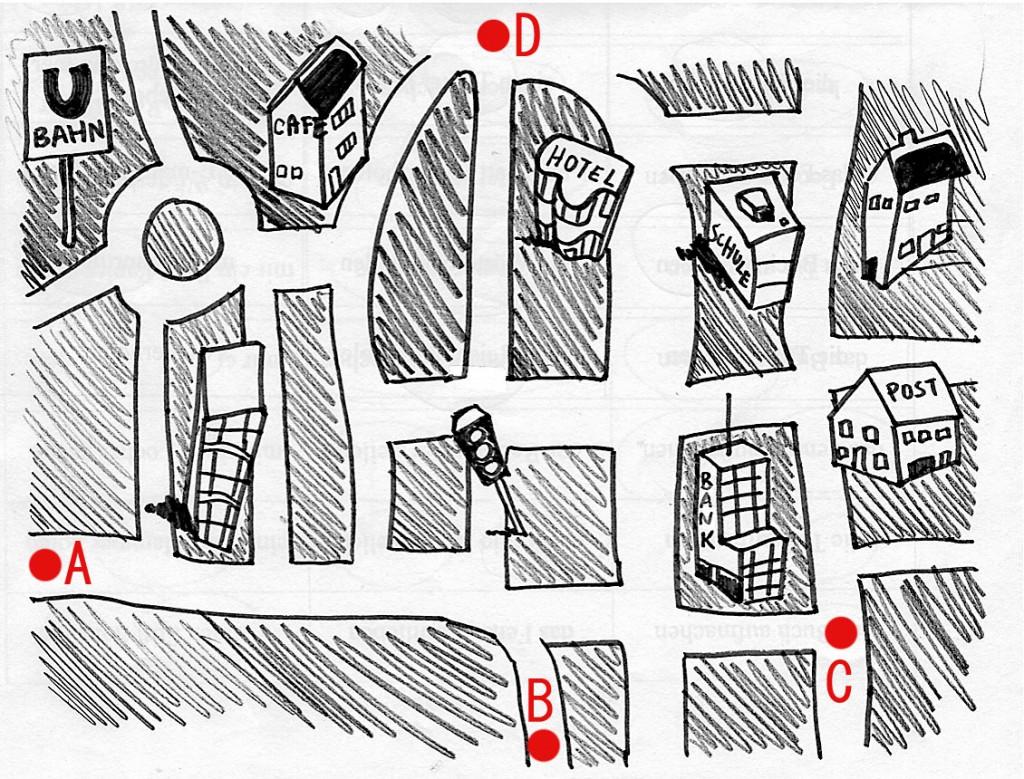 Stadt zum Weg beschreiben